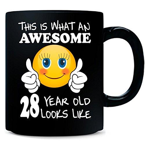 Emoji Birthday 28th Birthday Presents Woman 28 Year Old Gift - Mug