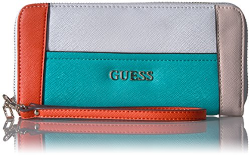 Guess Delaney Large Zip Around Wallet - Turquoise/Multi -...