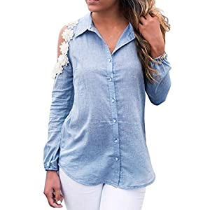 Kimloog Women's Long Sleeve Off Shoulder Floral Lapel Button Jeans Shirt Solid Casual Blouse Tops