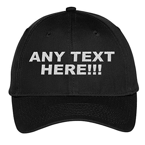 - Design Your Own Hat, Personalized Text, Custom Ball Cap, Embroidered with Color Choices (Black)