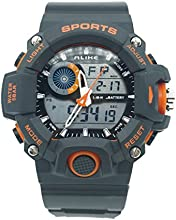 ALIKE AK14101 50M Waterproof Mens Dual Time Sports Watch Digital Quartz Wrist Watch with Date /Alarm /Stopwatch - Orange