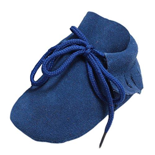 Leap Frog Lace Up Moccasins - Zapatos primeros pasos de piel vuelta para niño Azul