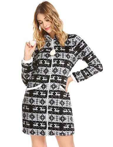 Flannel Loungewear (Langle Women's Comfy Sleepwear Long Sleeve Nightgown Flannel Loungewear (Black, XXL))