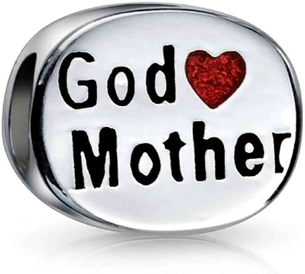 Madre De Dios El Amor Familiar Corazón Rojo Oval Encanto Dos Caras Abalorio Para Mujer 925 Encaja Pulsera Europea