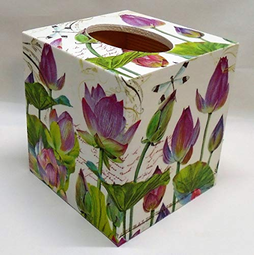 Lily Tissue Box - Handmade Decoupage Wood Tissue Box Cover, Water Lily, Dragonfly