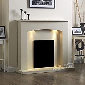 "Shop Electric Cream Ivory Modern Wall Freestanding Fire Surround Fireplace Suite Lights Downlights 48"". Free delivery on eligible orders of ?20 or more."