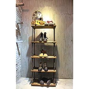 OTUGARE Retro Industrial Pipe Display Rack Free Standing Shoe/Bag Store Display Rack Shelf 5 Tiers Wooden Plank Rack
