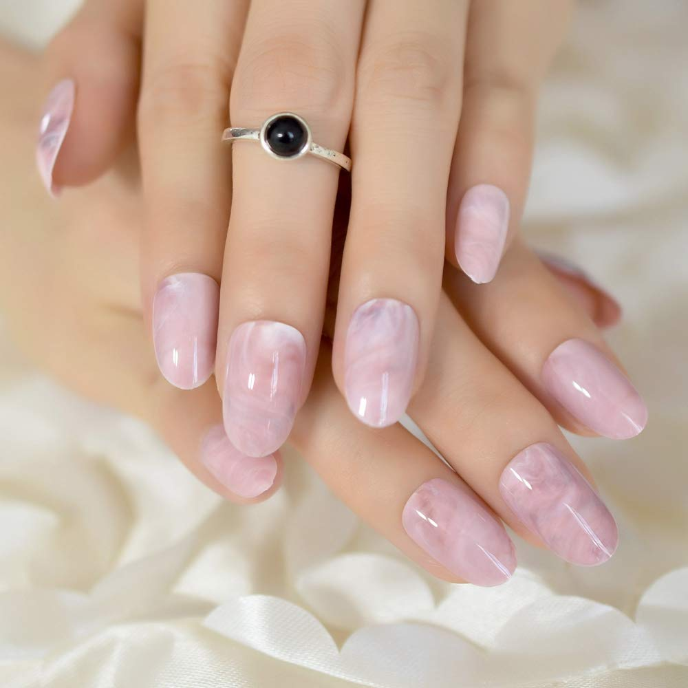 EchiQ - Puntas de uñas postizas con patrón de mármol rosa, ovaladas, redondas, ABS, artificiales, UV, gel para uñas, puntas de verano: Amazon.es: Belleza