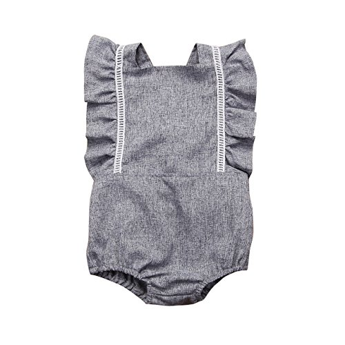 Mornbaby Newborn Girl Clothes Baby Girl Ruffles Romper Lace Sleeveless Outfit Grey Bodysuit Clothes (Grey, 6-12M)