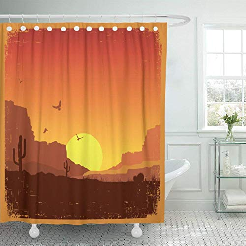 (GETTOGET Texas American Wild West Desert on Old Sunset Landscape Shower Curtain Bathroom Sets Hooks,Waterproof Polyester)