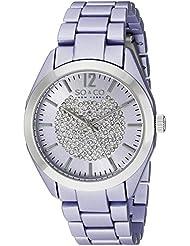 SO&CO New York Womens 5096A.2 SoHo Quartz Crystal Dial Oversized Purple Link Bracelet Watch