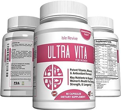 Ultra Vita Women's Multivitamin with Calcium, Multi-Mineral Complex, Hormone Balance Nutritional Supplement, Includes B-Complex Vitamins (60 Capsules, 30 Day Supply)