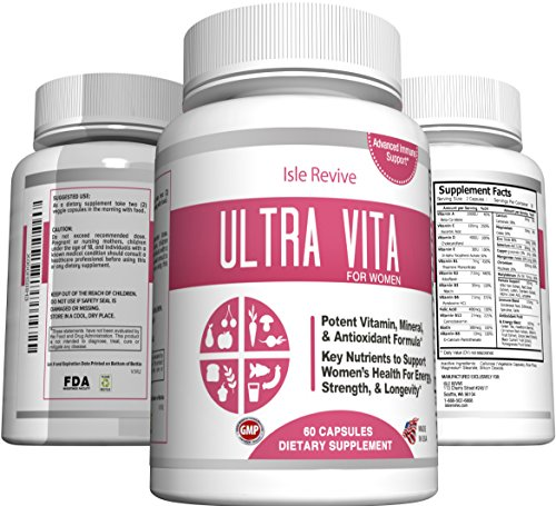 Ultra Vita Women's Multivitamin with Calcium, Multi-Mineral Complex, Hormone Balance Nutritional Supplement, Includes B-Complex Vitamins (60 Capsules, 30 Day Supply) Balance Multivitamin
