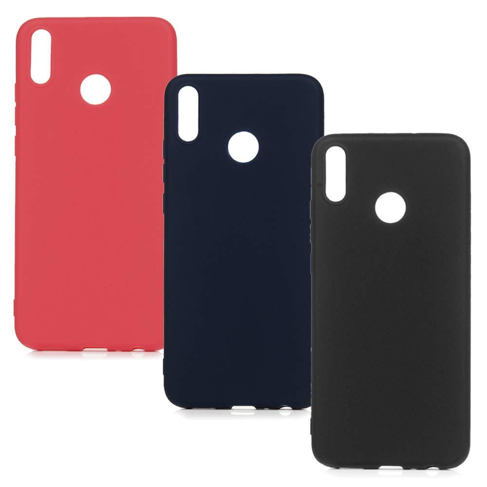 Honor 8X Handyhülle Huawei Honor 8X Hülle Silikon Case Cover Silicone Einfarbig Tasche Schutzhülle Softcase Handytasche Dünn Skin Schale Bumper*3 Silikonhüllen Mädchen Handycover Klar Stil-Set1 Vogu' SaNa