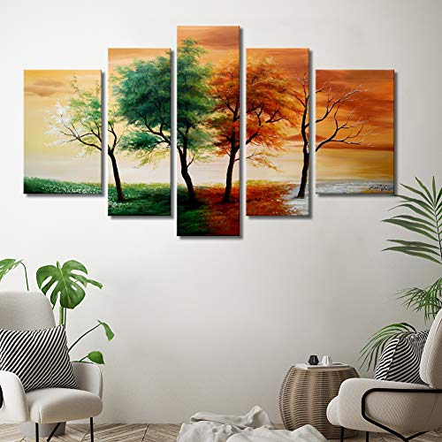 Four Seasons Paintings - Large Wall Art 5-Piece 100% Hand Painted Colorful Oil Painting on Canvas Four Seasons Tree Picture Landscape Framed Ready to Hang Living Room Artwork Wall Decor Home Decoration 32x54 inches