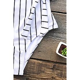 - 51Jgaz 2BhaZL - CUPSHE Women's Stay Young Stripe One-Piece Swimsuit Beach Swimwear Bathing Suit