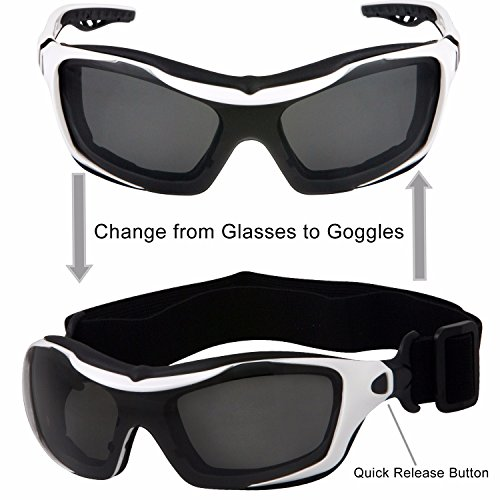 cb97d0153f WYND Blocker Motorcycle Riding Glasses Extreme Sports Wrap Sunglasses  (White   Smoke)  Amazon.in  Clothing   Accessories