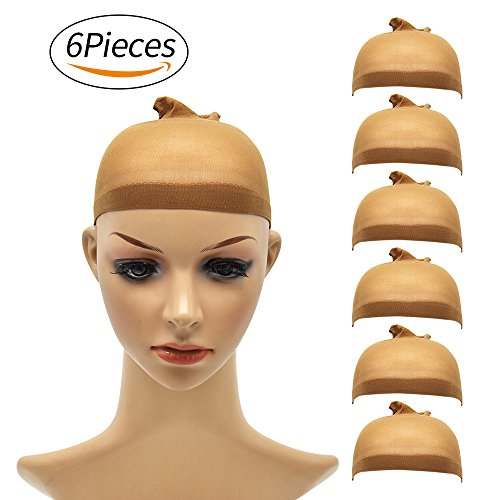 Beauty : Natural Nylon Brown Wig Cap - for Kids,Girl and Women Including 6 Pieces Wig caps