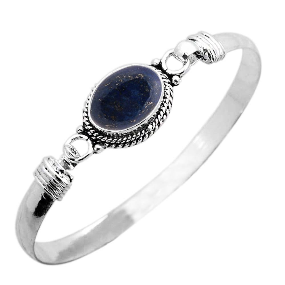 925 Silver Plated 9.10ct, Genuine Lapis Bangle Made By Sterling Silver Jewelry