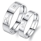 Fate Love Jewelry 2pcs Stainless Steel Promise Rings for Couple with Lock