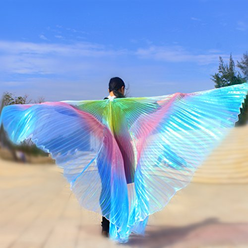 Belly Dance Isis Wings, Flash Cloak Costumes, with Sticks Road Clothing Carnival Halloween Night Club Performance (Multicolor) by Geek3C (Image #1)