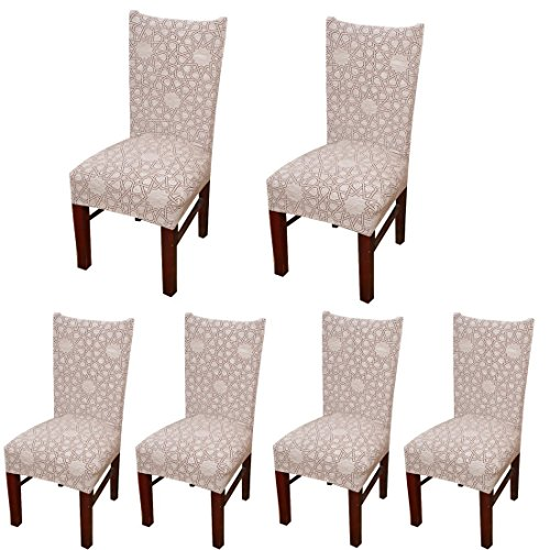 SoulFeel 6 x Soft Fit Stretchable Dining Chair Covers with Printed Pattern, Spandex Banquet Chair Seat Protector Slipcovers for Holiday Home Party, Hotel, Wedding Ceremony (Polygon 02)