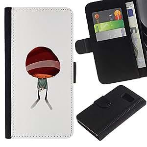 Billetera de Cuero Caso Titular de la tarjeta Carcasa Funda para Samsung Galaxy S6 SM-G920 / Abstract Minimalist Kid Cute / STRONG