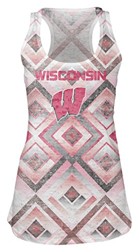 (NCAA Wisconsin Badgers Women's Sublimated Burnout Tank Top, Medium, White)