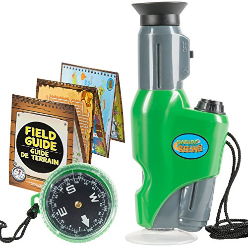 Nature Bound Toys Portable Field Microscope with Compass, for The Exploration of Nature, 6.5 Inches Tall, Built in Light, 40 X Magnification, Activity Field Guide Included best to buy