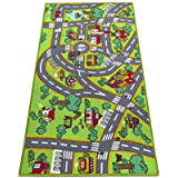 """Amy & Delle Kids Rug -Large Play Mat, 32"""" x 60"""" - Thick Woven Carpet, Anti Skid, Colorful City Street Theme for Playing with Cars and Toys – Promotes Educational and Imaginative Fun"""
