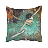 Throw Pillow Cover Edgar Degas Green Dancers Ballet Dance Cushion Square Size 16 x 16 inches Decorative Pillow Case Home Decor Square Zippered Square Pillowcases