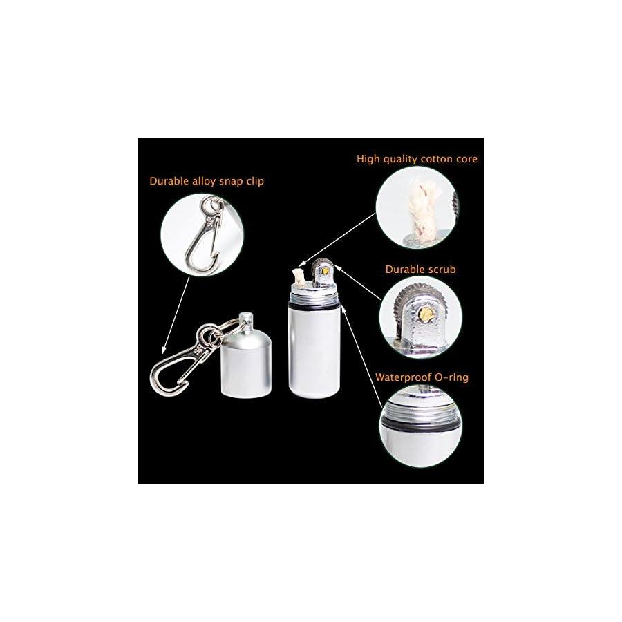 EDC Waterproof keychain Lighter 2 Pack Peanut Lighter for Survival and Emergency Use Bonus Inculded 6 Lighter flint & 1 Windproof wick