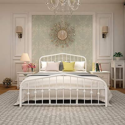 "Metal Bed Frame Queen Size Platform No Box Spring Needed with Vintage Headboard and Footboard Premium Steel Slat Support Mattress Foundation White - Queen Bed Frame---SIZE AND WEIGHT: 83.07""x60.24""x42.52"" (LxWxH) Weight: 60 pounds. ONLY BED FRAME, NOT INCLUDING THE MATTRESS. Standard 3FT, Queen Bed Frame---STURDY: Solid Bed Frame construction can support 400-500lbs, it has Total 16 legs, including extra 10 reinforce legs. Check PROMOTION parts, Frequently bought together with bed laptop desk, Queen Bed Frame---CONEVNIENT and PRACTICAL: Metal Frame No box spring foundation needed; can be used with all mattress types including memory foam mattresses. - bedroom-furniture, bedroom, bed-frames - 51JgdAns08L. SS400  -"
