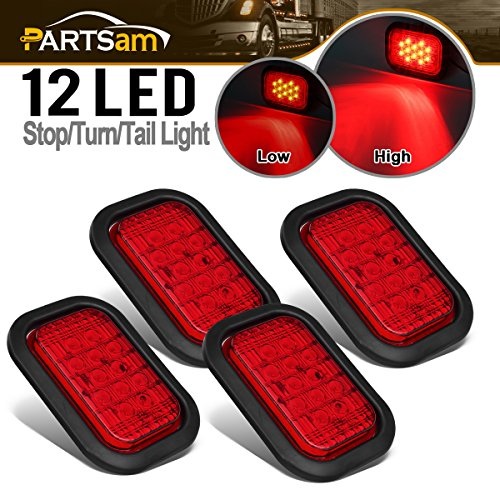 Partsam 4x 12 LED Rectangle Truck Trailer Stop Tail Brake Lights Red 5