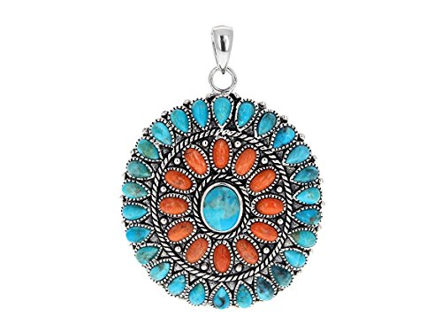 - Mayan Inspiration Sterling Silver 45mm, Genuine Turquoise & Sponge Coral Pendant