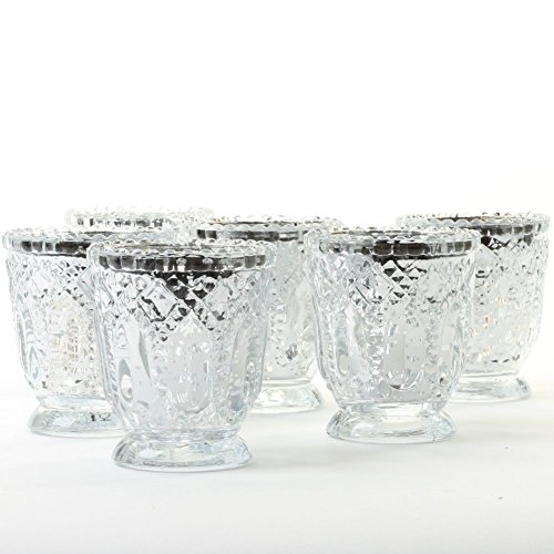 Koyal Wholesale Vintage Glass Candle Holder (Pack of 6), 3 x 2.75 (Antique Silver)