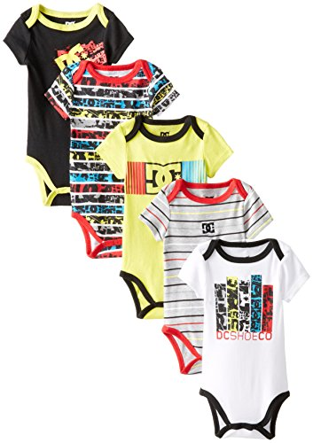 DC Shoes Co Baby-Boys Newborn 5 Pack Bodysuits - Yellow Black Red Group, Multi, 6-9 Months