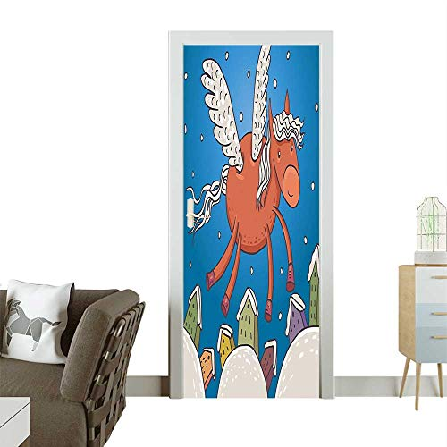 Modern Art Door Sticker Horse Wings and The in Snowy Winter Dark Orange and Blue Environmentally Friendly decorationW23 x H70 INCH