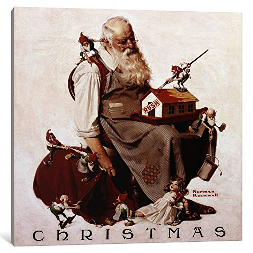 hristmas: Santa with Elves Canvas Print by Norman Rockwell, 18 x 18/0.75