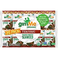 gimMe Organic Roasted Seaweed - Teriyaki - 20 Count - Keto, Vegan, Gluten Free - Great Source of Iodine and Omega 3's - Healthy On-The-Go Snack for Kids & Adults