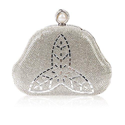 Womens Style Bag Crystal Rhinestones Clover Silver Damara Fully Evening gxnZIw