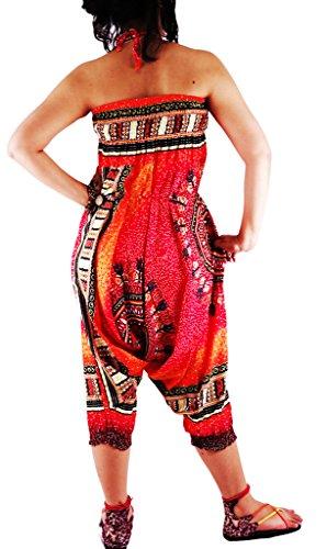 authenticasia-dashiki círculo Collection- 2en 1pantalones de harén y mono DAC-02 Orange