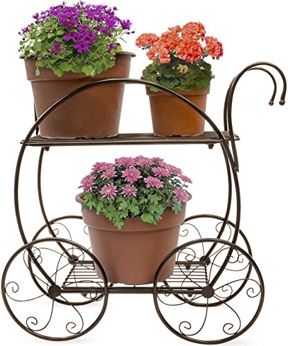 Sorbus Garden Cart Stand & Flower Pot Plant Holder Display Rack, 2 Tier Circular Frame, Parisian Style - Perfect for Home, Garden, Patio (Bronze)