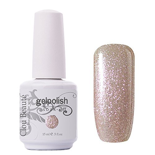 Clou Beaute Gelpolish 15ml Soak Off UV Led Gel Polish Lacquer Nail Art Manicure Varnish Color Glitter Champagne 1591 (Cb Champagne)