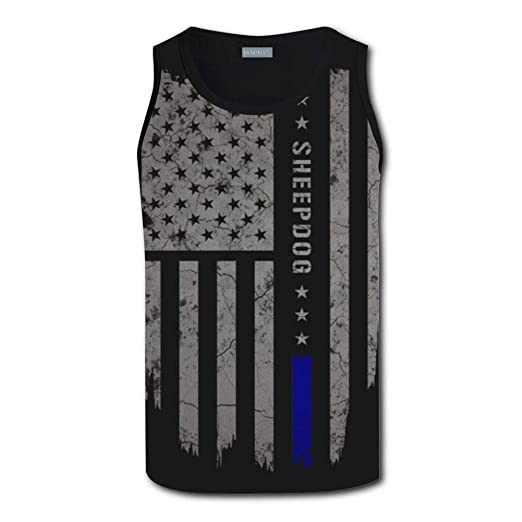 8b6f4058191f40 KLSMM 3D Printed USA Thin Blue Line American Flag Summer Racerback Vest Tank  Tops for Men at Amazon Men s Clothing store