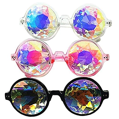 Set of 3pcs Festivals Kaleidoscope Glasses Rainbow Prism Sunglasses ()