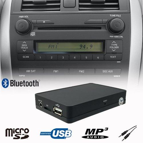 Manos Libres Bluetooth A2DP USB SD AUX WMA Reproductor de mp3 CD Cambiador Adaptador de Interfaz Kit de Coche Toyota Auris, Avensis, Camry, Celica, Corolla Hilux Land Cruiser previa Prius Yaris LaPower 1500-TOB