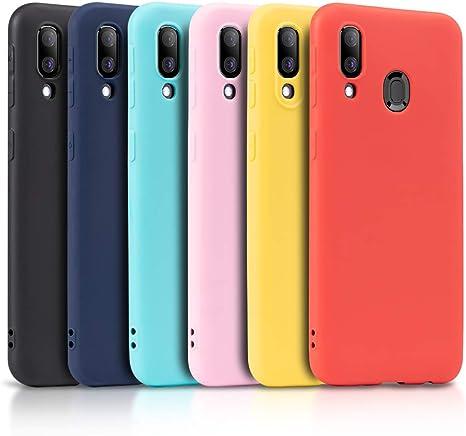 Wanxideng - 6X Coque pour Samsung Galaxy A40, Housse Souple en TPU Silicone, Soft Silicone Case Cover [ Noir Blanc Translucide Rouge Rose ...