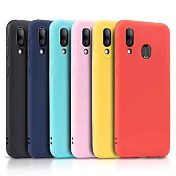 Wanxideng - 6x Funda para Samsung Galaxy A40, Carcasa en Silicona - [ Negro + Amarillo + Rojo+ Rosado+ Menta Verde + Azul Claro]