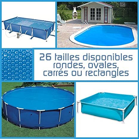 Linxor France Bâche à bulles ronde, ovale ou rectangle 180 microns pour piscine intex ou autre. / 26 tailles disponibles/Norme CE EGK Distribution